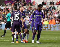 SWANSEA, WALES - MAY 17: Wilfried Bony of Manchester City (R) celebrates his winning goal during the Premier League match between Swansea City and Manchester City at The Liberty Stadium on May 17, 2015 in Swansea, Wales. (photo by Athena Pictures/Getty Images)