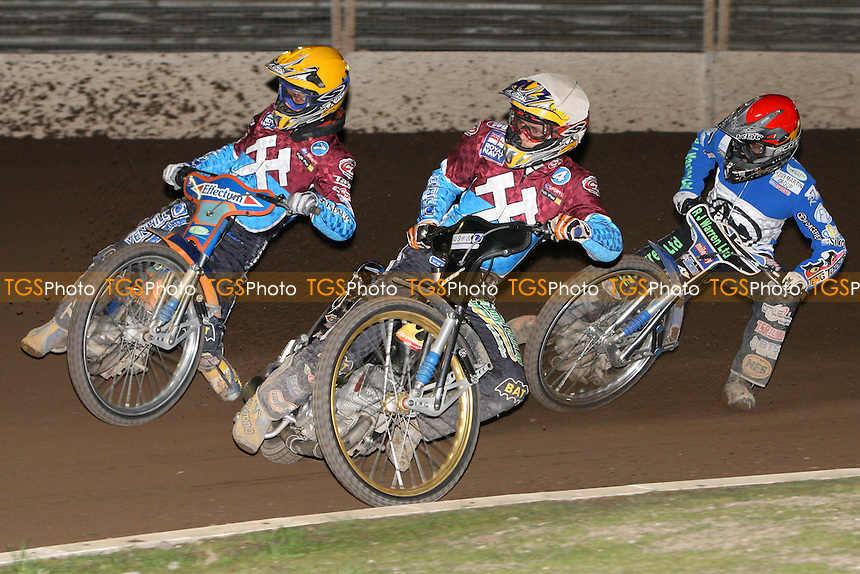 Heat 14: D.Davidsson (white), J.Davidsson (yellow) and King - Ipswich Witches vs Lakeside Hammers - Sky Sports Elite League Speedway at Foxhall Stadium - 13/05/10 - MANDATORY CREDIT: Gavin Ellis/TGSPHOTO - Self billing applies where appropriate - Tel: 0845 094 6026