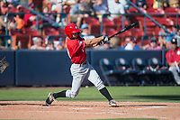 Vancouver Canadians left fielder Tanner Kirwer (19) follows through on his swing during a Northwest League game against the Spokane Indians at Avista Stadium on September 2, 2018 in Spokane, Washington. The Spokane Indians defeated the Vancouver Canadians by a score of 3-1. (Zachary Lucy/Four Seam Images)