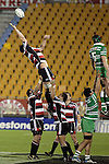 Ross Kennedy goes high in a lineout during the Air New Zealand rugby game between Counties Manukau Steelers & Manawatu, played at Mt Smart Stadium on the 22nd of September 2006. Counties Manukau 25 - Manawatu 25.
