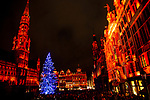 BRUSSELS - BELGIUM - 02 December 2018 -- Christmas light-show on Grand Place. The the Christmas tree comes from the Northern region of Finland from Kainuu. The Finnish theme is visible in the decoration and the blue and white lights, the colors of Finnish flag. -- PHOTO: Juha ROININEN / EUP-IMAGES
