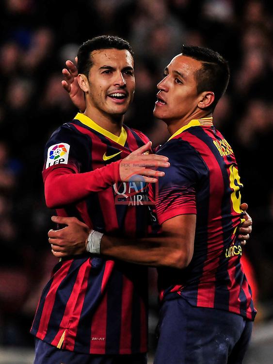 League BBVA 2013/2014 - Game: 21.<br /> FC Barcelona vs Malaga CF: 3-0.<br /> Pedro Rodriguez vs Alexis Sanchez.