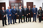 Palestinian President Mahmoud Abbas attends a ceremonial swearing of the head and members of Fatah court, in the West Bank of Ramallah on May 26, 2017. Photo by Osama Falah