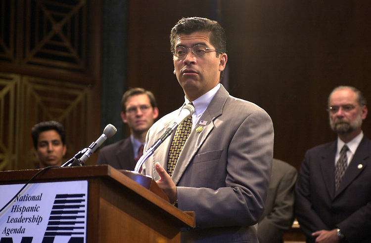 "5america100201 -- Xavier Becerra, D-CA., during a press conference to announce a ""Unidos for America"" by the National Hispanic Leadership Agenda."