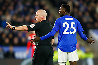 4th January 2020; King Power Stadium, Leicester, Midlands, England; English FA Cup Football, Leicester City versus Wigan Athletic; Referee Simon Hooper calls for a halt in play for a VAR review for a possibly penalty after a challenge on Wilfred Ndidi of Leicester City - Strictly Editorial Use Only. No use with unauthorized audio, video, data, fixture lists, club/league logos or 'live' services. Online in-match use limited to 120 images, no video emulation. No use in betting, games or single club/league/player publications