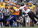 BROOKINGS, SD - OCTOBER 5:  Zach Zenner #31 from South Dakota State University is pushed out of bounds by Jordan Poole #22 from Southern Illinois in the first quarter Saturday afternoon at Coughlin Alumni Stadium in Brookings. (Photo by Dave Eggen/Inertia)