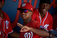 Washington Nationals Viandel Pena (3) during an Instructional League game against the Miami Marlins on September 26, 2019 at FITTEAM Ballpark of The Palm Beaches in Palm Beach, Florida.  (Mike Janes/Four Seam Images)