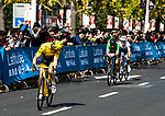 Tour de France Champion Geraint Thomas (WAL) Team Sky makes a break for victory followed by Peter Sagan (SVK) Bora-Hansgrohe and European Champion Matteo Trentin (ITA) Mitchelton-Scott during the 2018 Shanghai Criterium, Shanghai, China. 17th November 2018.<br /> Picture: ASO/Alex Broadway | Cyclefile<br /> <br /> <br /> All photos usage must carry mandatory copyright credit (&copy; Cyclefile | ASO/Alex Broadway)