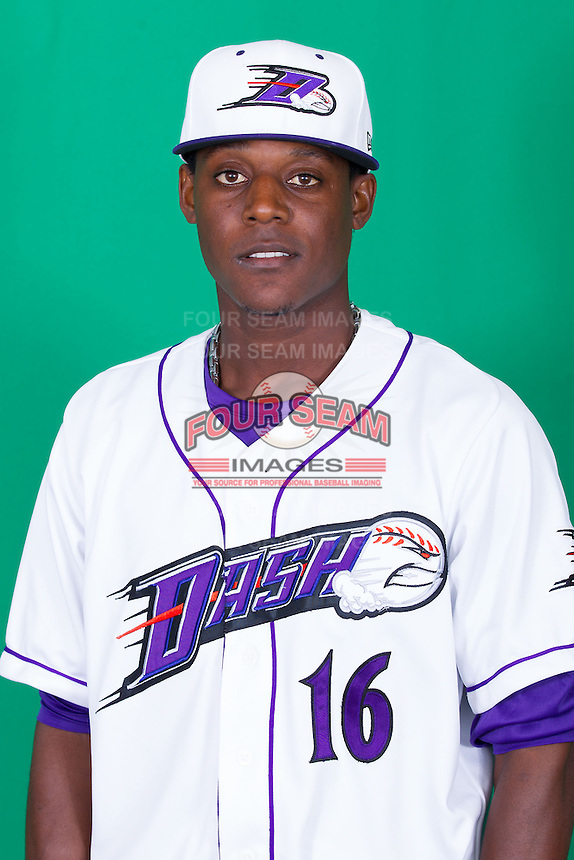 Winston-Salem Dash pitcher Euclides Leyer (16) poses for photos during Media Day at BB&T Ballpark on April 1, 2014 in Winston-Salem, North Carolina (Brian Westerholt/Four Seam Images)