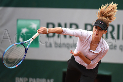 31.05.2016. Roalnd Garros, Paris, France. French Open tennis tournament.  Tsvetana Pironkova (BUL) beats Agnieszka Radwanska (POL) in 3 sets