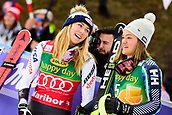 2nd February 2019, Maribor, Slovenia;  Mikaela Shiffrin of United States of America (L) and Anna Swenn Larsson of Sweden (R) celebrating at the Audi FIS Alpine Ski World Cup Women's Slalom Golden Fox on February 2, 2019 in Maribor, Slovenia