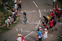 Alejandro Valverde (ESP/Movistar) up the last climb of the 2018 Tour: the Col d'Aubisque (HC/1709m/16.6km@4.9%)<br /> <br /> Stage 19: Lourdes &gt; Laruns (200km)<br /> <br /> 105th Tour de France 2018<br /> &copy;kramon