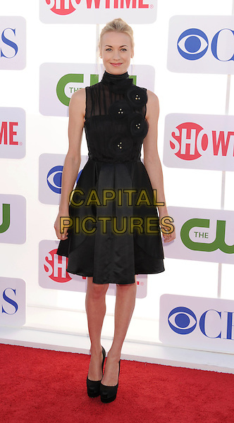 Yvonne Strahovski.CBS, CW, Showtime 2012 Summer TCA Party held at The Beverly Hilton Hotel, Beverly Hills, California, USA..July 29th, 2012.full length dress black sleeveless high collar hair up corsage skirt top .CAP/ROT/TM.©Tony Michaels/Roth Stock/Capital Pictures