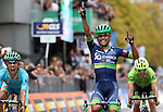 Esteban Chaves (COL) Orica-Bike Exchange wins the 110th edition of Il Lombardia NamedSport 2016 cycle race from Diego Rosa (ITA) Astana 2nd place and Rigoberto Uran Uran (COL) Cannondale-Drapac 3rd, running 241 km from Como to Bergamo, Italy. 1st October 2016.<br /> Picture: ANSA/Matteo Bazzi | Newsfile<br /> <br /> <br /> All photos usage must carry mandatory copyright credit (© Newsfile | Matteo Bazzi)