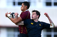 Action from the 1st XV Auckland 1A semi-final match between Auckland Grammar (navy) and Kings College (maroon) at Auckland Grammar, Auckland, New Zealand on Saturday 15th August 2015. Photo: Simon Watts / www.bwmedia.co.nz <br /> All images &copy; BWMedia.co.nz