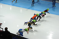 SCHAATSEN: DORDRECHT: Sportboulevard, Korean Air ISU World Cup Finale, 12-02-2012, Start Final Relay Ladies, Qiuhong Liu CHN (112), Emily Scott USA (165), Jorien ter Mors NED (144), Ayuko Ito JPN (131), Martina Valcepina ITA (129), ©foto: Martin de Jong