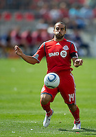 August 07 2010 Toronto FC midfielder Dwayne De Rosario #14 in action during a game between Chivas USA and Toronto FC at BMO Field in Toronto..Toronto FC won 2-1.