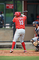 Philadelphia Phillies Jhailyn Ortiz (13) at bat during an Instructional League game against the Atlanta Braves on October 9, 2017 at the Carpenter Complex in Clearwater, Florida.  (Mike Janes/Four Seam Images)