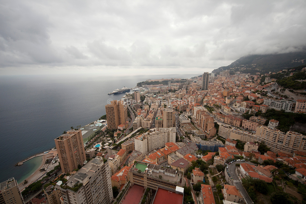 View of Monaco from the penthouse suite, under construction, on the 49th floor of the  Tour Odéon, Monaco, 18 October 2013