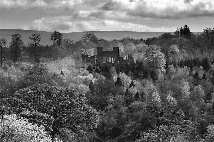 A castle set amongst woodland in England