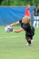 2 October 2011:  FIU goal keeper Kaitlyn Savage (0) runs through drills prior to the match.  The FIU Golden Panthers defeated the University of South Alabama Jaguars, 2-0, at University Park Stadium in Miami, Florida.