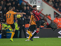 Bournemouth's Philip Billing (right) battles for possession with Wolverhampton Wanderers' Joao Moutinho (centre) and Romain Saiss (left) <br /> <br /> Photographer David Horton/CameraSport<br /> <br /> The Premier League - Bournemouth v Wolverhampton Wanderers - Saturday 23rd November 2019 - Vitality Stadium - Bournemouth<br /> <br /> World Copyright © 2019 CameraSport. All rights reserved. 43 Linden Ave. Countesthorpe. Leicester. England. LE8 5PG - Tel: +44 (0) 116 277 4147 - admin@camerasport.com - www.camerasport.com