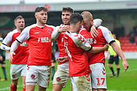 Fleetwood Town's Jason Holt celebrates scoring his side's first goal with Ched Evans and Paddy Madden<br /> <br /> Photographer Richard Martin-Roberts/CameraSport<br /> <br /> The EFL Sky Bet League One - Fleetwood Town v Plymouth Argyle - Saturday 16th March 2019 - Highbury Stadium - Fleetwood<br /> <br /> World Copyright © 2019 CameraSport. All rights reserved. 43 Linden Ave. Countesthorpe. Leicester. England. LE8 5PG - Tel: +44 (0) 116 277 4147 - admin@camerasport.com - www.camerasport.com