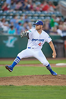 Justin Hoyt (46) of the Ogden Raptors delivers a pitch to the plate against the Great Falls Voyagers at Lindquist Field on August 16, 2017 in Ogden, Utah. The Voyagers defeated the Raptors 11-6. (Stephen Smith/Four Seam Images)