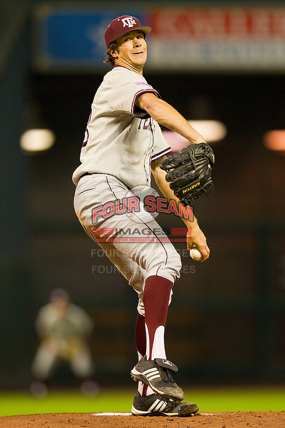 Starting pitcher Ross Hales #28 of the Texas A&M Aggies in action against the Houston Cougars at Minute Maid Park on March 6, 2011 in Houston, Texas.  Photo by Brian Westerholt / Four Seam Images