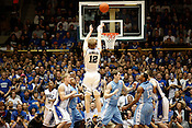 Duke's Kyle Singler finds his mark from three point range as the Blue Devils destroyed UNC 82-50 in the last regular season game at Cameron Indoor Stadium in Durham, N.C., Sat., March 6, 2010. Singler was three for six from three point range.