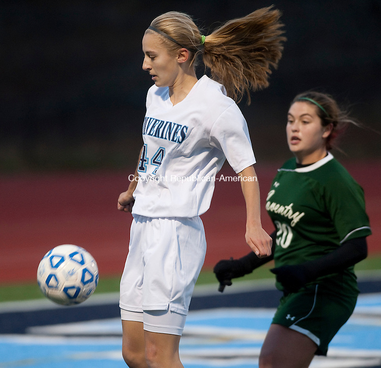 OXOFORD, CT-110814JS12- Oxford's Melanie Cianciola (44) settles the ball in front of Coventry's Kaylee Favre (20) during their Class S semifinal game Saturday at Oxford High School. <br />  Jim Shannon Republican-American