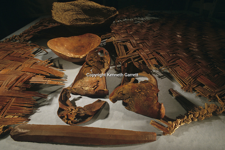 Wooden bowl, leather sandals, flint blade, basket, mat,  from tomb of the unknown Copper Age warrior, cave tomb near Jericho, Israel Museum