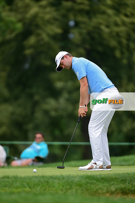 Bernd Wiesberger (AUT) watches his putt on 8 during Sunday's final round of the World Golf Championships - Bridgestone Invitational, at the Firestone Country Club, Akron, Ohio. 8/6/2017.<br /> Picture: Golffile | Ken Murray<br /> <br /> <br /> All photo usage must carry mandatory copyright credit (&copy; Golffile | Ken Murray)