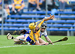 Mark Rodgers of Clare  in action against Sean Henley of Waterford during their Munster  championship round robin game at Cusack Park Photograph by John Kelly.