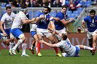 Yoann Huget France and Federico Ruzza Italy.<br /> Roma 16-03-2019 Stadio Olimpico<br /> Rugby Six Nations tournament 2019  <br /> Italy - France <br /> Foto Antonietta Baldassarre / Insidefoto