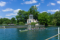 Henley on Thames, United Kingdom, 22nd June 2018, Friday,   &quot;Henley Women's Regatta&quot;,  view, Women's Championship Eights, 379<br /> Yale Univ (USA) (B)  <br />  move past the Temple Island Folly, Henley Reach, Thames valley,  River Thames, England, &copy; Peter SPURRIER
