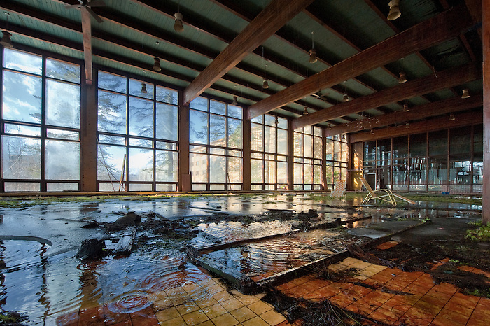 The Flooded Interior of A Hotels Pool