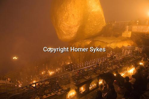 Kyaiktiyo. The Full Moon ceremony at the Golden Rock November. Burma Myanmar 2011.