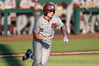 Mississippi State Bulldogs second baseman Justin Foscue (17) sprints to first against the Tennessee Volunteers in Southeastern Conference action at Lindsey Nelson Stadium in Knoxville, Tennessee, on April 6, 2019. Tennessee won 2-1. (Danny Parker/Four Seam Images)