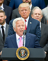 New England Patriots owner Robert Kraft makes remarks as United States President Donald J. Trump listens from behind during the ceremony welcoming the Super Bowl Champions to the South Lawn of White House in Washington, DC on Wednesday, April 19, 2917.<br /> Credit: Ron Sachs / CNP/MediaPunch<br /> <br /> (RESTRICTION: NO New York or New Jersey Newspapers or newspapers within a 75 mile radius of New York City)