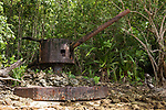 Mbaeroko Bay, Munda, Western Province, Solomon Islands; one of four Japanese anti-aircraft guns along the shoreline, pointing in all directions, to protect the landing site for supply ships like the Kashi Maru that was sunk nearby