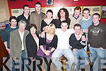 Saying Farewell: The three members of staff that are leaving Kerry Co-Op, Catherine, Kenneth and Barry with friends at Christys The Well in Listowel on Friday night were (Front row) John Paul Riordan, Ger Quinlan, Mairead Lawlee, Catherine OSullivan, Kenneth Hanrahan and Barry Leahy. (Back row): Timmy Kennelly, William Carroll, Mary Carmody, Carrie Williams, Tom Enright, Michael Ahern and Kevin Fetherland..