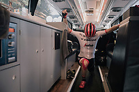 Michael Gogl (AUT/Trek-Segafredo) stretching in the teambus just before heading out for the race<br /> <br /> 104th Tour de France 2017<br /> Stage 5 - Vittel &rsaquo; La Planche des Belles Filles (160km)