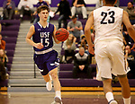 SIOUX FALLS, SD - DECEMBER 31: Drew Maschoff #15 from the University of Sioux Falls pushes the ball up court against  Augustana University during their game Sunday afternoon December 31, 2017 at the Stewart Center in Sioux Falls, SD.  (Photo by Dave Eggen/Inertia)