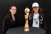 Chicago, IL - Saturday July 30, 2016: Fans, 2015 Women's World Cup Trophy prior to a regular season National Women's Soccer League (NWSL) match between the Chicago Red Stars and FC Kansas City at Toyota Park.