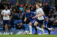 Oliver Shipp of Tottenham in possession as Chelsea's Ruben Sammut looks on during Chelsea Under-23 vs Tottenham Hotspur Under-23, Premier League 2 Football at Stamford Bridge on 13th April 2018