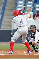 Clearwater Threshers Fidel Hernandez #4 at bat during a game against the Tampa Yankees at Steinbrenner Field on June 22, 2011 in Tampa, Florida.  The game was suspended due to rain in the 10th inning with a score of 2-2.  (Mike Janes/Four Seam Images)