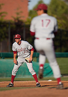 STOCKTON, CA - May 9, 2011: Stephen Piscotty of Stanford baseball gets set during A.J. Vanegas' pitch during Stanford's game against Pacific at Klein Family Field in Stockton. Stanford won 11-5.