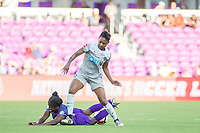 Orlando, FL - Sunday May 14, 2017: Jasmyne Spencer, Taylor Smith during a regular season National Women's Soccer League (NWSL) match between the Orlando Pride and the North Carolina Courage at Orlando City Stadium.