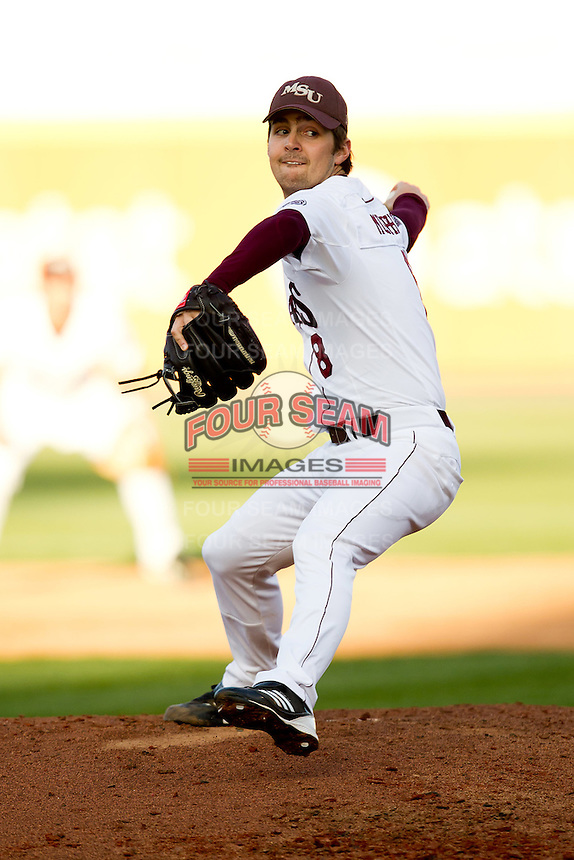 Clay Murphy (8) of the Missouri State Bears delivers a pitch during a game against the Oklahoma State Cowboys at Hammons Field on March 6, 2012 in Springfield, Missouri. (David Welker / Four Seam Images)